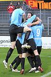 Sandhausen 05.12.2009, 3. Liga SV Sandhausen - FC Ingolstadt 04, Torjubel der Ingolst&auml;dter zum Siegtreffer von Ingolstadts Ersin Demir<br /> <br /> Foto &copy; Rhein-Neckar-Picture *** Foto ist honorarpflichtig! *** Auf Anfrage in h&ouml;herer Qualit&auml;t/Aufl&ouml;sung. Ver&ouml;ffentlichung ausschliesslich f&uuml;r journalistisch-publizistische Zwecke. Belegexemplar erbeten.