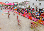 Riders cross the finish line of Stage 7 of the 100th edition of the Giro d'Italia 2017, running 224km from Castrovillari to Alberobello, Italy. 12th May 2017.<br /> Picture: LaPresse/Simone Spada | Cyclefile<br /> <br /> <br /> All photos usage must carry mandatory copyright credit (&copy; Cyclefile | LaPresse/Simone Spada)