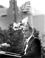 President Lyndon Johnson speaking in San Francisco,<br />