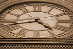 Close-up of an historic clock in the Pearl District, Portland, OR
