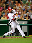 21 August 2009: Washington Nationals' catcher Wil Nieves at bat against the Milwaukee Brewers at Nationals Park in Washington, DC. The Nationals fell to the Brewers 7-3, in the first game of their four-game series. Mandatory Credit: Ed Wolfstein Photo