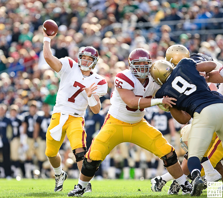10/17/09 - South Bend, IN:  USC quarterback Matt Barkley throws a first quarter touchdown pass to wide receiver Damian Williams during their game at Notre Dame Stadium on Saturday.  USC won the game 34-27 to extend its win streak over Notre Dame to 8 games.  Photo by Christopher McGuire.