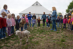 LaVon Griffieon leading a group of pre-schoolers on a farm tour, Griffieon Family Farm, Ankeny, Iowa.