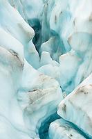 Blue melt water way on Fox Glacier, Westland Tai Poutini National Park,  South Westland, West Coast, UNESCO World Heritage Area, New Zealand, NZ