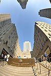 John D. Rockefeller Plaque on stairs of Rockefeller Plaza, Rockefeller Center, Manhattan, New York City, USA NOTE: 180 degree fisheye view, EDITORIAL USE ONLY