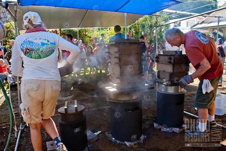 Akiko's Bed and Breakfast Mochi Pounding New Year's Event 2012, Wailea Village, Big Island.