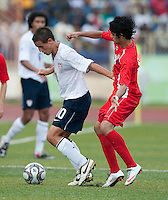 Luis Gil controls the ball. US Under-17 Men's National Team defeated United Arab Emirates 1-0 at Gateway International  Stadium in Ijebu-Ode, Nigeria on November 1, 2009.