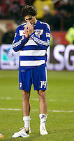 FC Dallas' defender George John reflects after his team;s 2-1 loss to the Colorado Rapids in MLS Cup 2010. John's extra time own goal would give COlorado the win in the League's title match