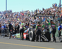 Jul 29, 2016; Sonoma, CA, USA; Crew members with NHRA top fuel driver Terry McMillen during qualifying for the Sonoma Nationals at Sonoma Raceway. Mandatory Credit: Mark J. Rebilas-USA TODAY Sports