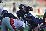 Ole Miss quarterback Zack Stoudt (8) calls the signals during a scrimmage at Vaught-Hemingway Stadium in Oxford, Miss. on Saturday, August 13, 2011.