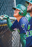8 July 2015: Vermont Lake Monsters catcher Seong-min Kim awaits his turn in the batting cage prior to a game against the Mahoning Valley Scrappers at Centennial Field in Burlington, Vermont. The Lake Monsters defeated the Scrappers 9-4 to open the home game series of NY Penn League action. Mandatory Credit: Ed Wolfstein Photo *** RAW Image File Available ****
