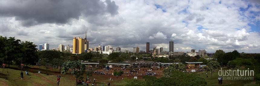 Panoramic image composed of 5 original images taken above Uhuru park in Nairobi, Kenya.