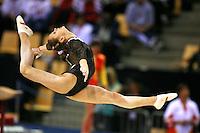 Oct 17, 2006; Aarhus, Denmark; Dariya Zgoba of Ukraine split leaps on floor exercise during women's gymnastics team competition at 2006 World Championships Artistic Gymnastics.