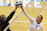11 September 2015: Duke's Leah Meyer (7) is stuffed by Stanford's Madi Bugg (left). The Duke University Devils hosted the Stanford University Cardinal at Cameron Indoor Stadium in Durham, NC in a 2015 NCAA Division I Women's Volleyball contest. Stanford won the match 3-2 (17-25, 25-22, 17-25, 25-23, 10-15).