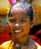 Traditional Palauan Girl during one of the festivals in Palau, Micronesia