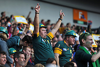 A South Africa fan in the crowd shows his support. Rugby World Cup Pool B match between South Africa and Japan on September 19, 2015 at the Brighton Community Stadium in Brighton, England. Photo by: Patrick Khachfe / Onside Images