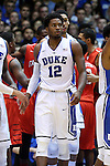 15 November 2014: Duke's Justise Winslow. The Duke University Blue Devils hosted the Fairfield University Stags at Cameron Indoor Stadium in Durham, North Carolina in an NCAA Men's Basketball exhibition game. Duke won the game 109-59.