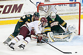 Caylen Walls (UVM - 26), Bill Arnold (BC - 24), Brody Hoffman (UVM - 37) - The Boston College Eagles defeated the University of Vermont Catamounts 4-1 on Friday, February 1, 2013, at Kelley Rink in Conte Forum in Chestnut Hill, Massachusetts.