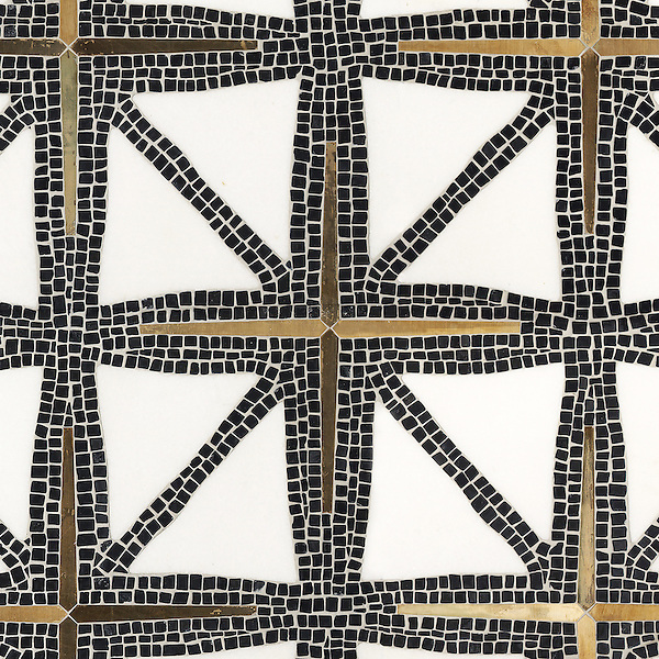 Indus, a stone water jet mosaic, shown in tumbled Nero Marquina, honed Thassos, and Bronze brushed. Designed by James Duncan for New Ravenna Mosaics.