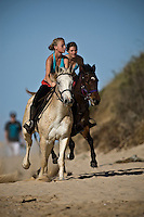 Girls riding horses on the beach at Jeffreys Bay, (Wednesday 8th July 2009), Eastern Cape, South Africa ,   Photo: joliphotos.com
