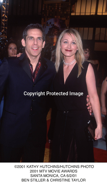 ©2001 KATHY HUTCHINS/HUTCHINS PHOTO.2001 MTV MOVIE AWARDS.SANTA MONICA, CA 6/2/01.BEN STILLER & CHRISTINE TAYLOR