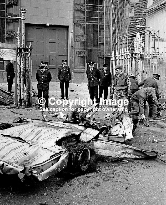 Scene of  explosion outside gates of Crumlin Road Prison, Belfast, N Ireland, UK.  The bomb, believed to around 100 lbs of explosive, was in a hijacked delivery van.197703140163b.<br /> <br /> Copyright Image from Victor Patterson, 54 Dorchester Park, <br /> Belfast, UK, BT9 6RJ<br /> <br /> t1: +44 28 9066 1296 (from Rep of Ireland 048 9066 1296)<br /> t2: +44 28 9002 2446 (from Rep of Ireland 048 9002 2446)<br /> m: +44 7802 353836<br /> <br /> e1: victorpatterson@me.com<br /> e2: victorpatterson@gmail.com<br /> www.victorpatterson.com<br /> <br /> Please see my Terms and Conditions of Use at www.victorpatterson.com. It is IMPORTANT that you familiarise yourself with them.<br /> <br /> Images used on the Internet must be visibly watermarked i.e. &copy; Victor Patterson<br /> within the body of the image and copyright metadata must not be deleted. Images <br /> used on the Internet have a size restriction of 4kbs and will be chargeable at current<br />  NUJ rates unless agreed otherwise.<br /> <br /> This image is only available for the use of the download recipient i.e. television station, newspaper, magazine, book publisher, etc, and must not be passed on to any third <br /> party. It is also downloaded on condition that each and every usage is notified within 7 days to victorpatterson@me.com<br /> <br /> The right of Victor Patterson to be identified as the author is asserted in accordance with The Copyright Designs And Patents Act (1988).