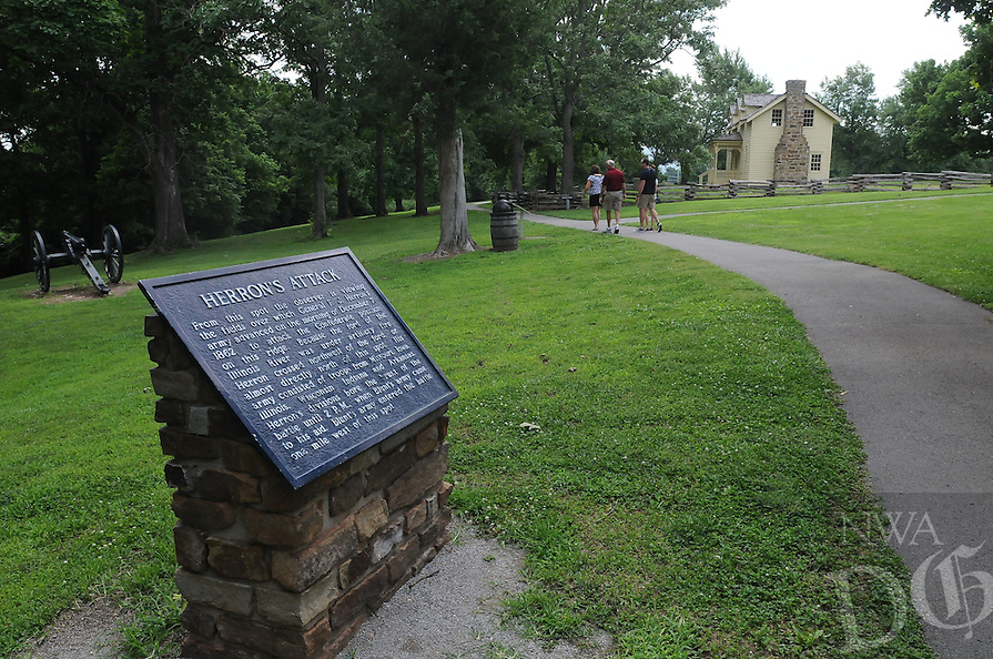 NWA Democrat-Gazette/FLIP PUTTHOFF <br /> Visitors taking the one-mile walking tour at Prairie Grove Battlefield State Park learn about the Civil War and see natural features and scenic vistas.