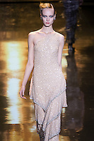 Kristy Kaurova walks runway in an outfit from the Badgley Mischka Fall 2011 fashion show, during Mercedes-Benz Fashion Week Fall 2011.