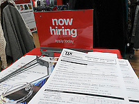 Applications at a TJ Maxx store in New York for hiring by the TJX Companies on Tuesday, September 20, 2016. (© Richard B. Levine)