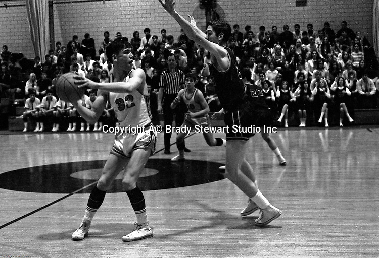 Bethel Park PA:  Scott Streiner breaking the press against the Mt Lebanon Blue Devils at Bethel Park Gymnasium  - 1968.  Scott Streiner passing the ball to Steve Zemba, Mike Stewart in the background. The JV Team was coached by Mr. Reno and the Bethel Park JVs won the Section Championship.  The team included; Scott Streiner, Steve Zemba, John Klein, Mike Stewart, Bruce Evanovich, Jeff Blosel and Tim Sullivan.