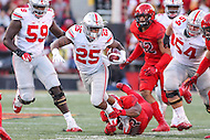 College Park, MD - November 12, 2016: Ohio State Buckeyes running back Mike Weber (25) is tackled by Maryland Terrapins linebacker Jermaine Carter Jr. (23) during game between Ohio St. and Maryland at  Capital One Field at Maryland Stadium in College Park, MD.  (Photo by Elliott Brown/Media Images International)