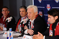 New York Red Bulls head coach Hans Backe addresses the media as assistant coach Richie Williams, general manager and sportsing director Erik Soler, and goalkeeper coach Des McAleenan listen during a press cenference at Red Bull Arena in Harrison, NJ, on January 13, 2010.