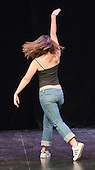 """Choreographer, Hannah Greenslade, rehearsing.  Special Olympics Surrey put on a show,   """"Beyond the Stars"""", at the Rose Theatre, Kingston upon Thames to raise money for the  SOGB team.  The Special Olympics are for athletes with learning disabilities."""