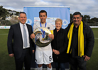 From left: Deryck Shaw (NZ Football), Angelo Berlanga (Auckland captain), Annette King (MP for Rongotai) and Paul  Eagle (Wellington City Council) after the Oceania Football Championship final (second leg) football match between Team Wellington and Auckland City FC at David Farrington Park in Wellington, New Zealand on Sunday, 7 May 2017. Photo: Dave Lintott / lintottphoto.co.nz