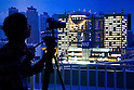 June 14, 2012, Tokyo, Japan - A journalist takes video of the view of Tokyo city landmarks all made of LEGO bricks during a press preview event at the LEGOLAND Discovery Center Tokyo. The LEGOLAND Discovery Center contains over 3 million LEGO bricks in-house, a 4D movie theater, iconic city land marks of Tokyo all made of LEGO, and a interactive laser ride. The discovery center will open to the general public on June 15, 2012. (Photo by Christopher Jue/AFLO)