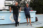 28 August 2016: SLU head coach Mike McGinty (left) and UNC head coach Carlos Somoano (right) before the game. The University of North Carolina Tar Heels hosted the Saint Louis University Billikens at Fetter Field in Chapel Hill, North Carolina in a 2016 NCAA Division I Men's Soccer match. UNC won the game 3-0.