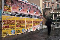 Roma 5 Gennaio 2010.Manifesti di Adriano Tilgher per le elezioni Regionali del Lazio per il Partito La Destra a Corso Trieste