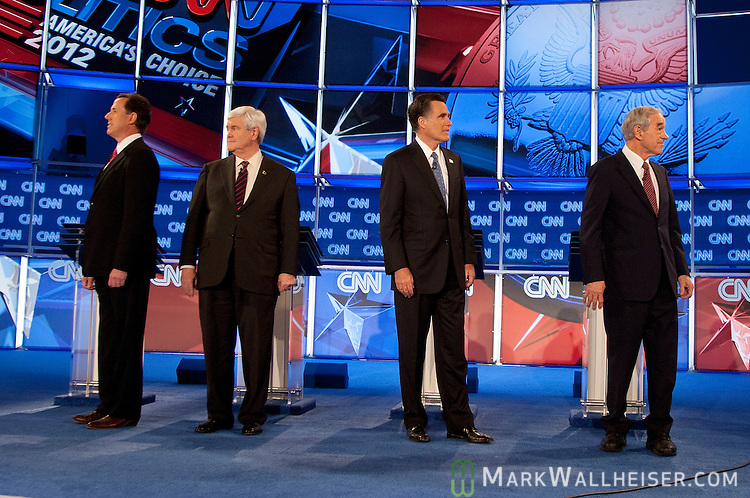 The GOP presidential candidates, from left, Rick Santorum, Newt Gingrich, Mitt Romney, and Ron Paul prior to the start of the CNN Florida Republican Presidential Debate at the University of North Florida in Jacksonville, Florida on January 25, 2012