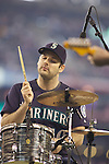 Death Cab for Cutie drummer Jason McGerr performs before the Seattle Mariners vs. Oakland Athletics in the opening home game of the season against the Oakland Athletics at SAFECO Field in Seattle April 12, 2010. The Athletics beat the Mariners 4-0. Jim Bryant Photo. ©2010. ALL RIGHTS RESERVED.