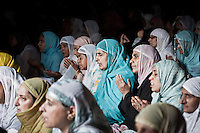 Kashmiri muslim women sob as they pray at the Jamia Majid in the old city Srinagar. Through heavy militarization in the Kashmir Valley, women have often been the targets and survivors of violence suffering from trauma, injury, and disease. Besides the violence inflicted directly on their bodies, women also face other forms of gendered violence: direct violence is disproportionately inflicted on males because they are perceived or imagined as threatening, resulting in indirect suffering for females, as is reflected in the experiences of half widows. Srinagar, Indian administrated Kashmir.