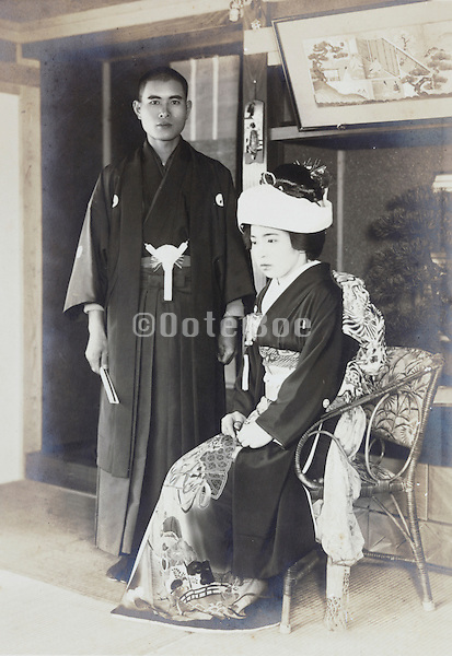 formal portrait of just married couple Japan 1930s