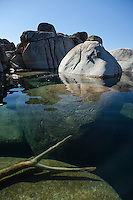 """Boulders at Lake Tahoe 36"" - Photograph of boulders and the clear waters of Lake Tahoe near Speedboat Beach."