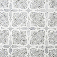 Aiden&trade;, a handmade mosaic shown in polished and honed Carrara and polished Thassos, is part of The Studio Line of Ready to Ship mosaics.<br />