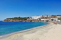 The beach of Agios Stefanos in Mykonos, Greece