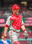 24 May 2015: Philadelphia Phillies catcher Cameron Rupp in action against the Washington Nationals at Nationals Park in Washington, DC. The Nationals defeated the Phillies 4-1 to take the rubber game of their 3-game weekend series. Mandatory Credit: Ed Wolfstein Photo *** RAW (NEF) Image File Available ***