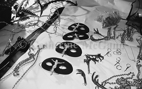 March 1996:  Accessories at Alexander McQueen's first fashion show in New York.  The collection was shown in a former synagogue on Norfolk Street (now the Angel Orensanz Foundation Center for the Arts) on the Lower East side in New York City, New York.  Accessories include crucifix masks, chicken feet and barbed wire