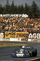 ANDERSTORP, SWEDEN - JUNE 13: Jody Scheckter drives the Tyrrell P34 3/Ford Cosworth DFV during the Grand Prix of Sweden on June 13, 1976, at Scandinavian Raceway near Anderstorp, Sweden.