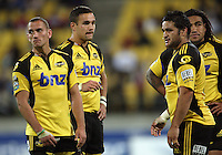 Hurricanes backs Aaron Cruden, Tamati Ellison, Piri Weepu and Ma'a Nonu during the Super 14 rugby match between Hurricanes and Reds at Westpac Stadium, Wellington, New Zealand on Friday, 7 May 2010. Photo: Dave Lintott / lintottphoto.co.nz