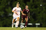 27 September 2012: UNC's Amber Brooks (22) and Florida State's Ines Jaurena (FRA) (2) The University of North Carolina Tar Heels played the Florida State University Seminoles at Fetzer Field in Chapel Hill, North Carolina in a 2012 NCAA Division I Women's Soccer game. Florida State won the game 1-0.