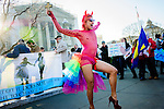 New York based drag performer Qween  Amor dances in front  of the the Supreme Court in Washington, D.C. as the Court hears arguments for the first time Tuesday on whether gays and lesbians have a constitutional right to marry in a California case that could affect the law nationwide.